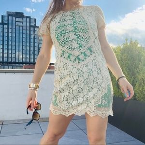 Anthro Champagne & Strawberry Emerald Ivory Lace